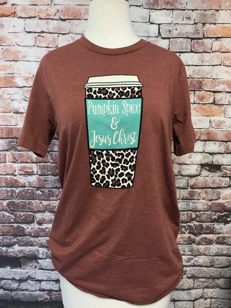 Pumpkin Spice & Jesus Christ Leopard Coffee Cup Rust Graphic Tee ***PREORDER***- Sizes 4-20