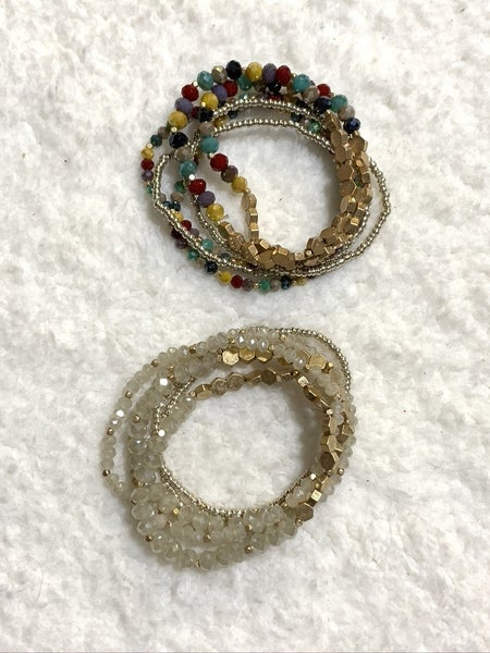 Rather Than Now Multi Strand Beaded Bracelet - Multiple Colors