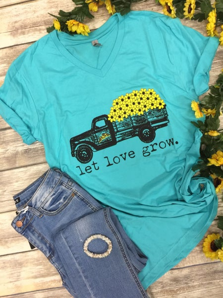 Let Love Grow Sunflower Tee in Aqua - Sizes 4-20