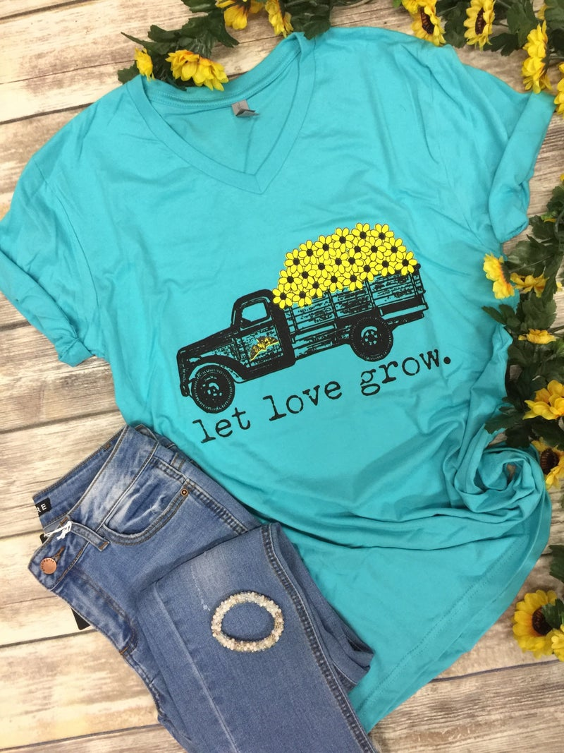 Let Love Grow Sunflower Tee in Aqua - Sizes 4-20