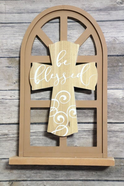 Be Blessed Cross Home Decor With Wooden Window