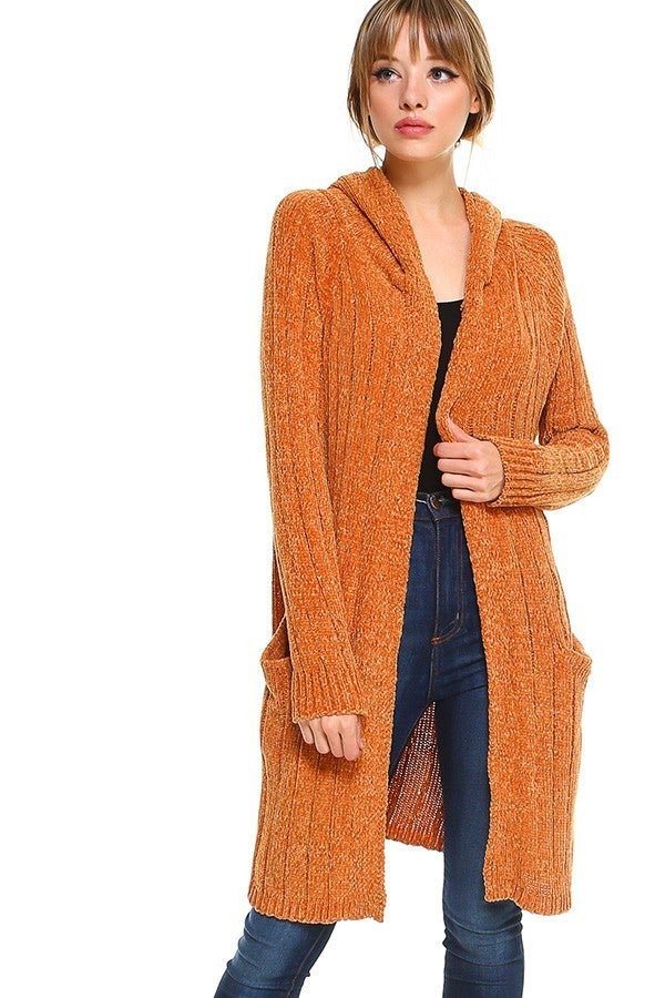 In Your Arms Hooded Mustard Chenille Long Cardigan - Sizes 2-10