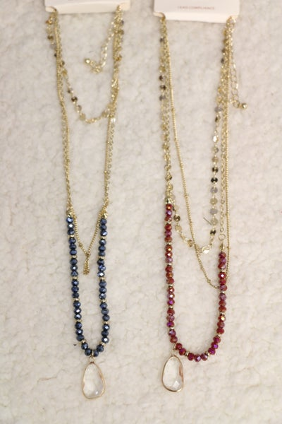 Oh What Fun 3 Strand Gold Necklace With Crystal Beads and Crystal Pendant In Multiple Colors