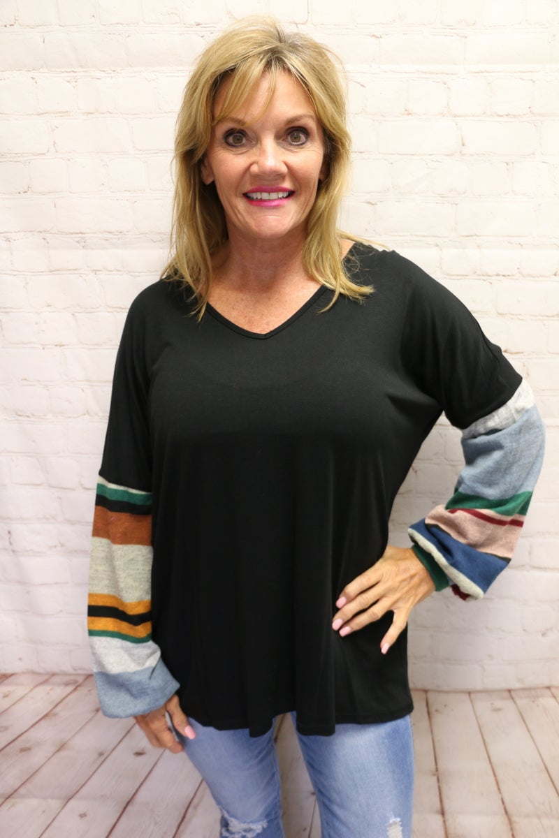Forever Young Black Top with Multi Color Stripe Accent Sleeve - Sizes 4-12