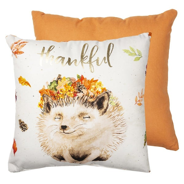 Autumn Leaves and Hedgehog Thankful Pillow