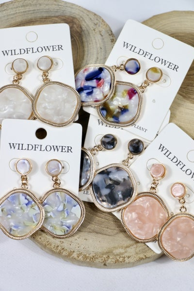 Heavenly Double Circle Marble Earring In Multiple Colors