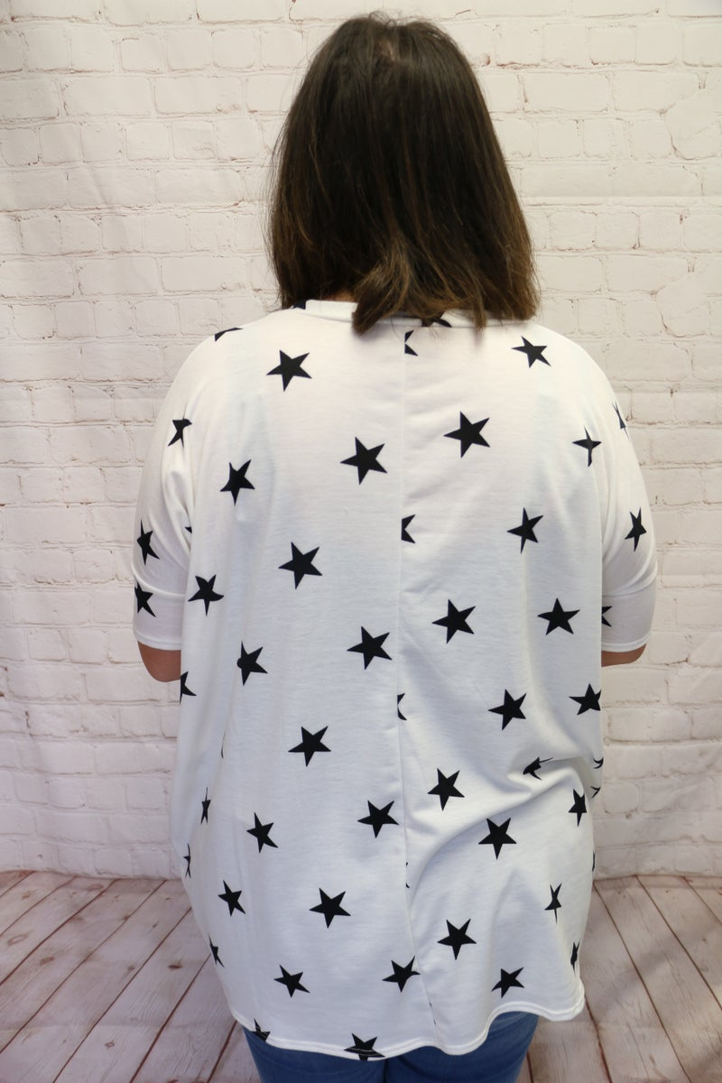 OMJ! Softest Ever Star Print Oversized Top in Ivory - Sizes 4-12