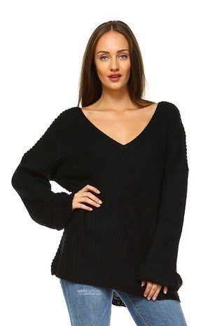 Talking in Circles Thick V-Neck Black Sweater - Sizes
