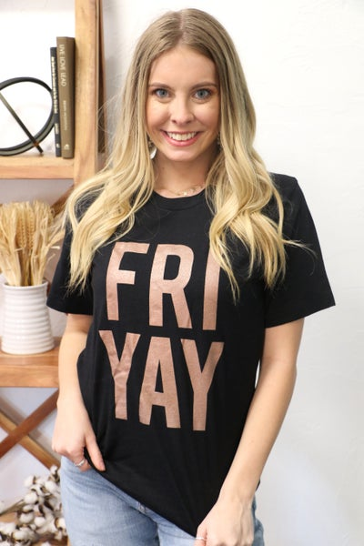 FRIYAY Rose Gold and Black Graphic Tee - Sizes 4-20