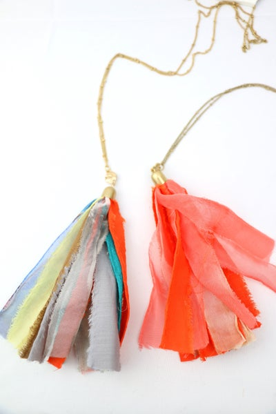 Just In Time Long Gold Chain With Long Fabric Tassel In Multiple Colors