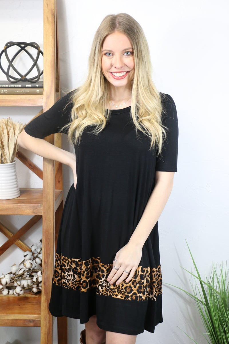 Tell Me Everything Black Short Sleeve Dress with Leopard Accent - Sizes 4-20
