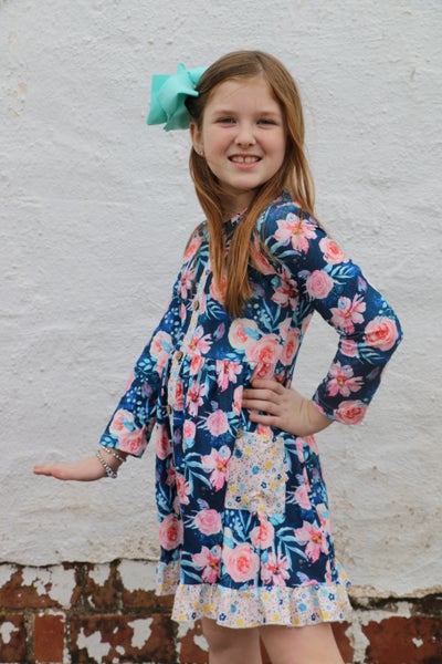 Simply Gorgeous Navy Floral Dress with Pockets - Sizes 6M - 8 Y