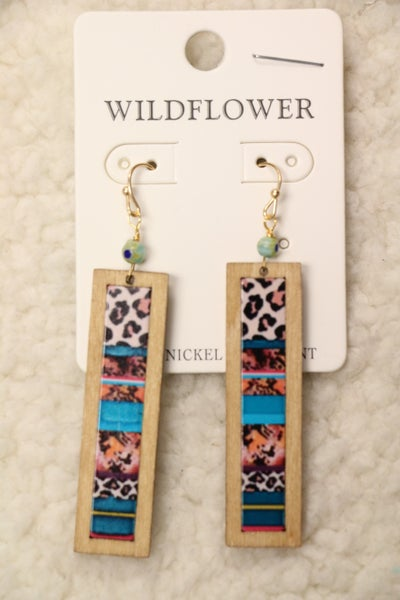 Today's The Day Wooden Rectangle Earring With Leopard and Serape Print In Multiple Colors