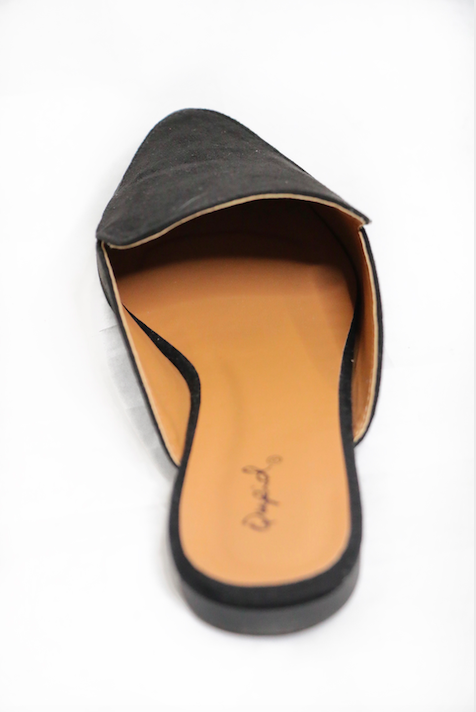 Walk The Line Black Suede Mules