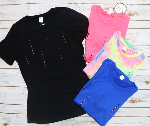 Only the Beginning Short Sleeve Tee with Leopard Cutouts in Multiple Colors - Sizes 4-20