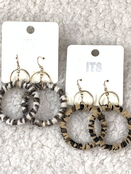 Going My Way Leopard Pony Hair Wrapped Hoop Earring In Multiple Colors