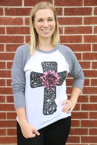 Life To The Fullest Leopard Cross with Flower Raglan Top - Sizes 4-20