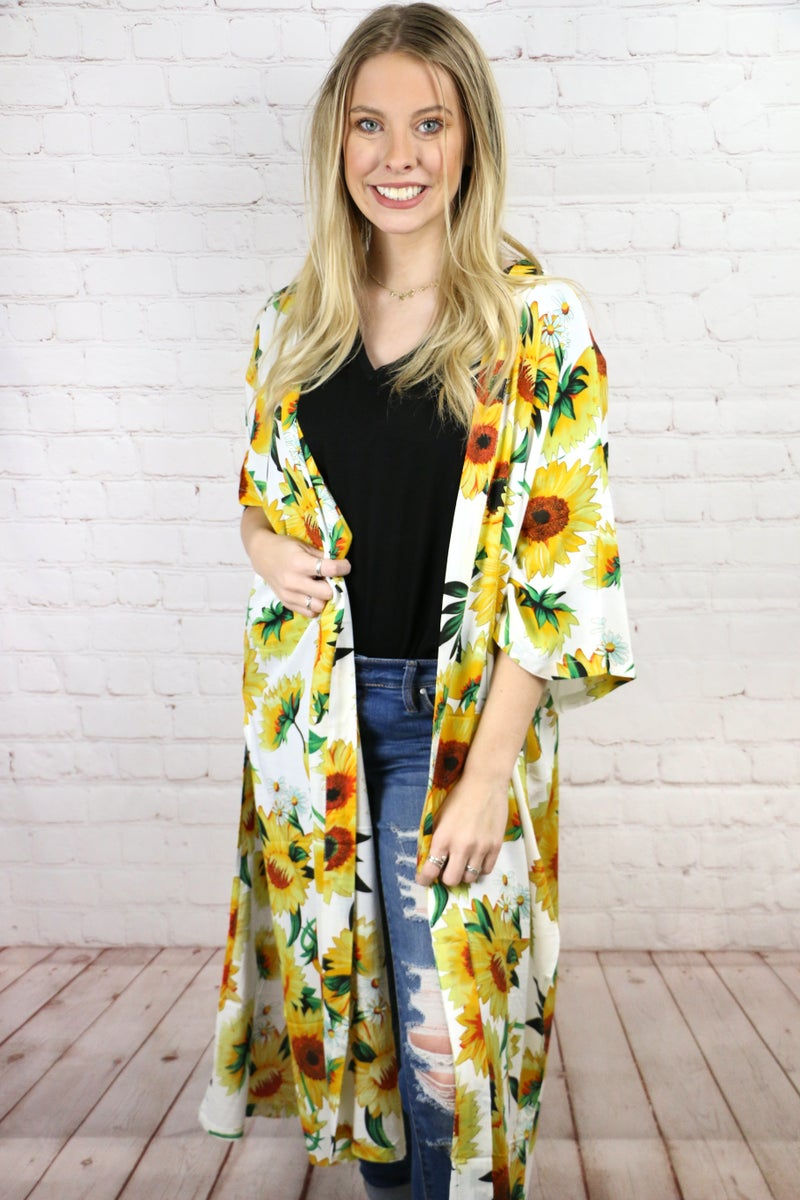 Sunny Days Ahead Sunflower Kimono in Multiple Colors - One Size