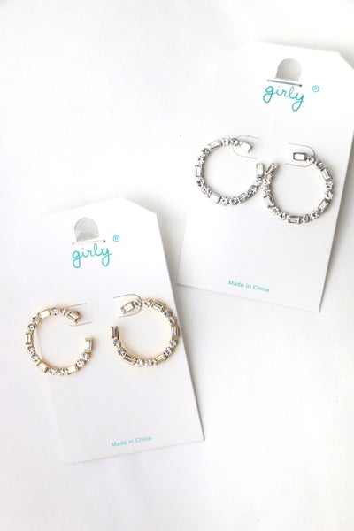 A Night Out Rhinestone Hoop In Multiple Colors
