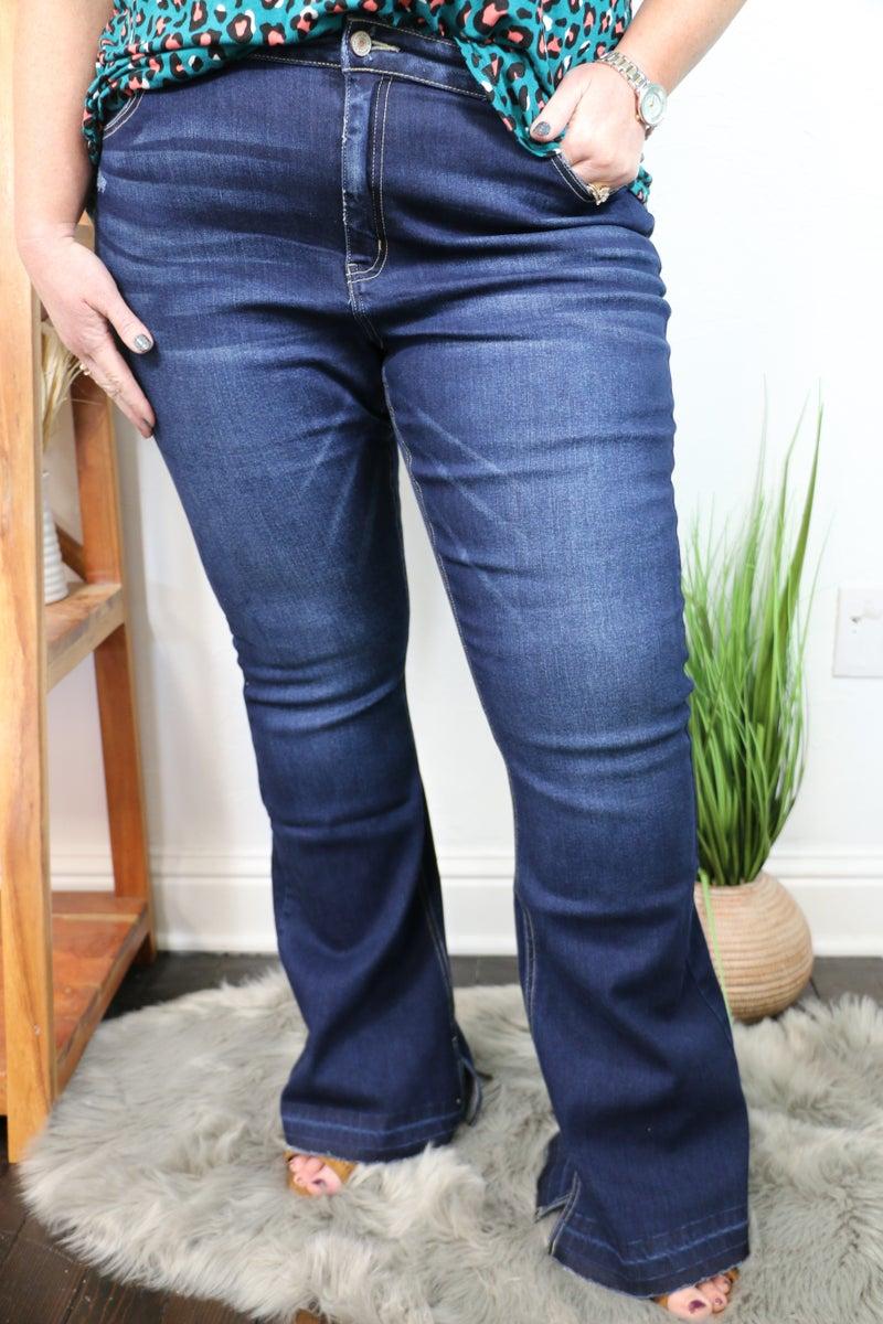 The Tiffany Ultra High Rise Flare Bottom Dark Walk Jean - Sizes 12-20