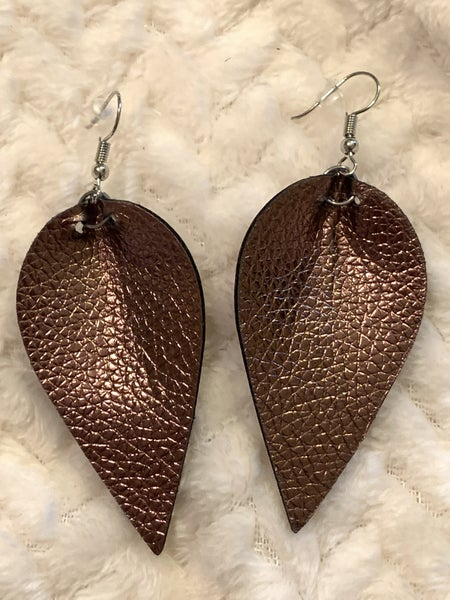 You Know My. Name Metallic Bronze Leaf Shape Leather Earring