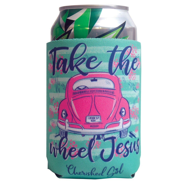 Jesus Take the Wheel Mint Can Cooler