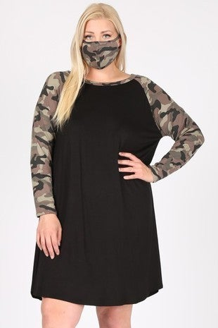 Finding Myself Black Camo Raglan Dress & Mask- Sizes 12-20