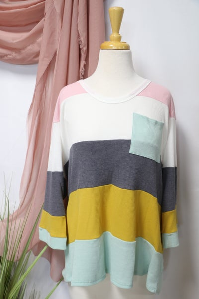 Back to the Top Pastel Striped Waffle Knit Top with Front Pocket - Sizes 12-20