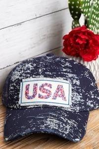 USA Distressed Ballcap in Splattered Blue