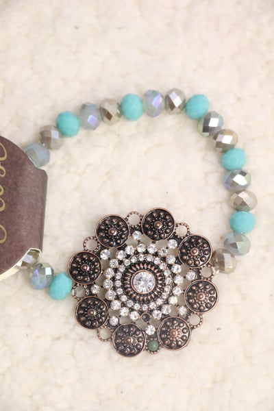 Bling It Up Crystal Turquoise Bead Stretch Bracelet With Bronze Medallion