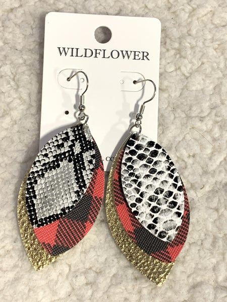 Triple Threat Leaf Shape Leather Earring In Snake, Red Buffalo Plaid And Gold