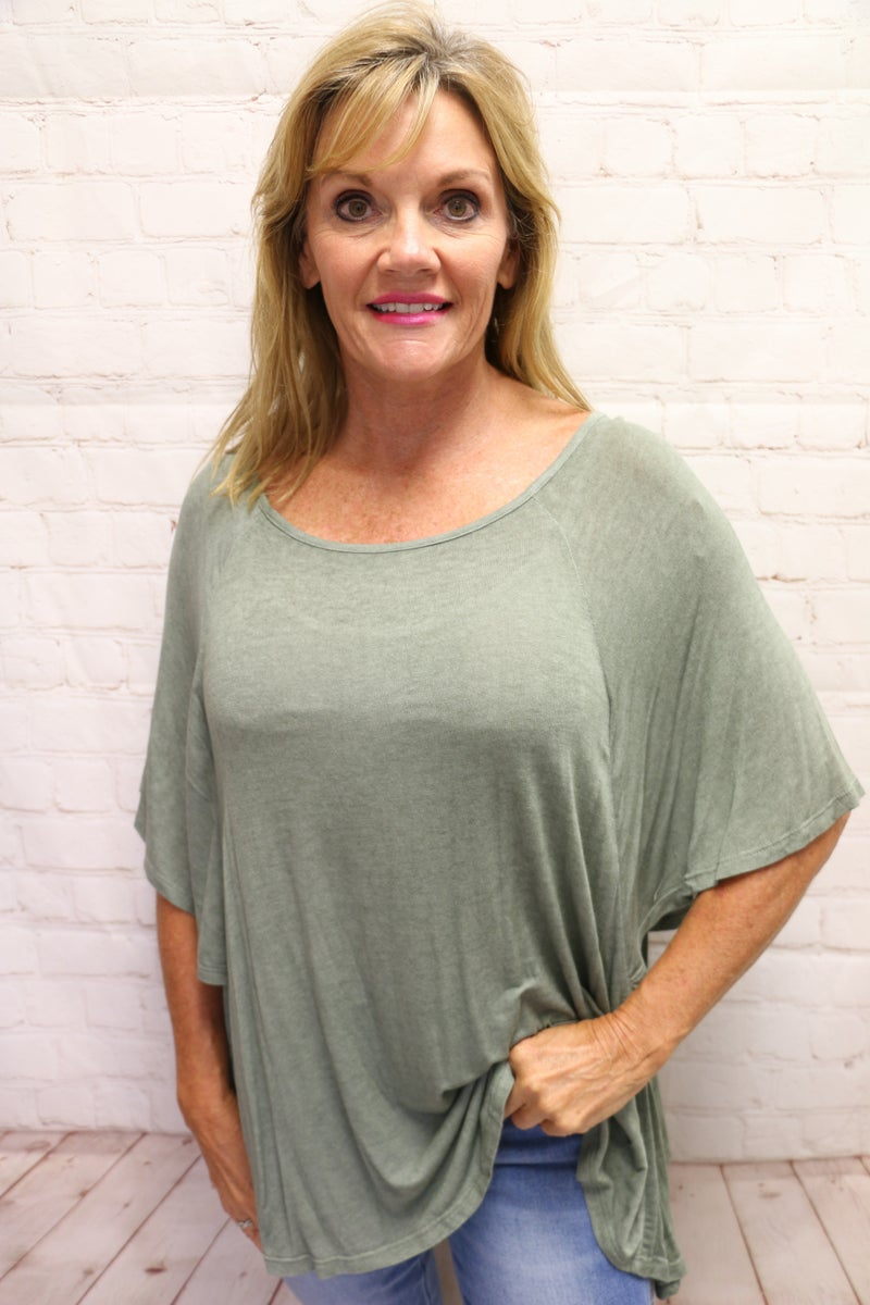 This is It Oversized Dolman Tunic with Flutter Sleeves in Multiple Colors - Sizes 4-10