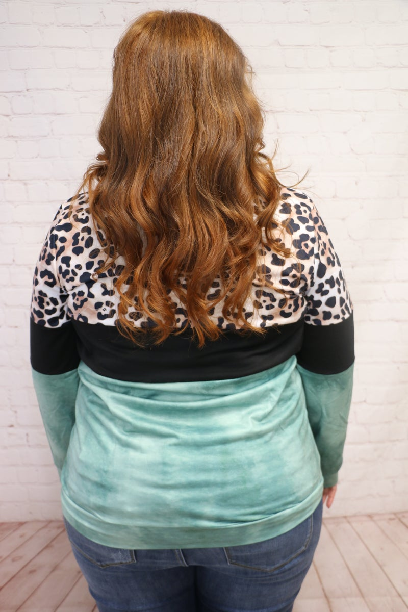 Along for the Ride Leopard Colorblock Lightweight Hoodie - Sizes 4-20