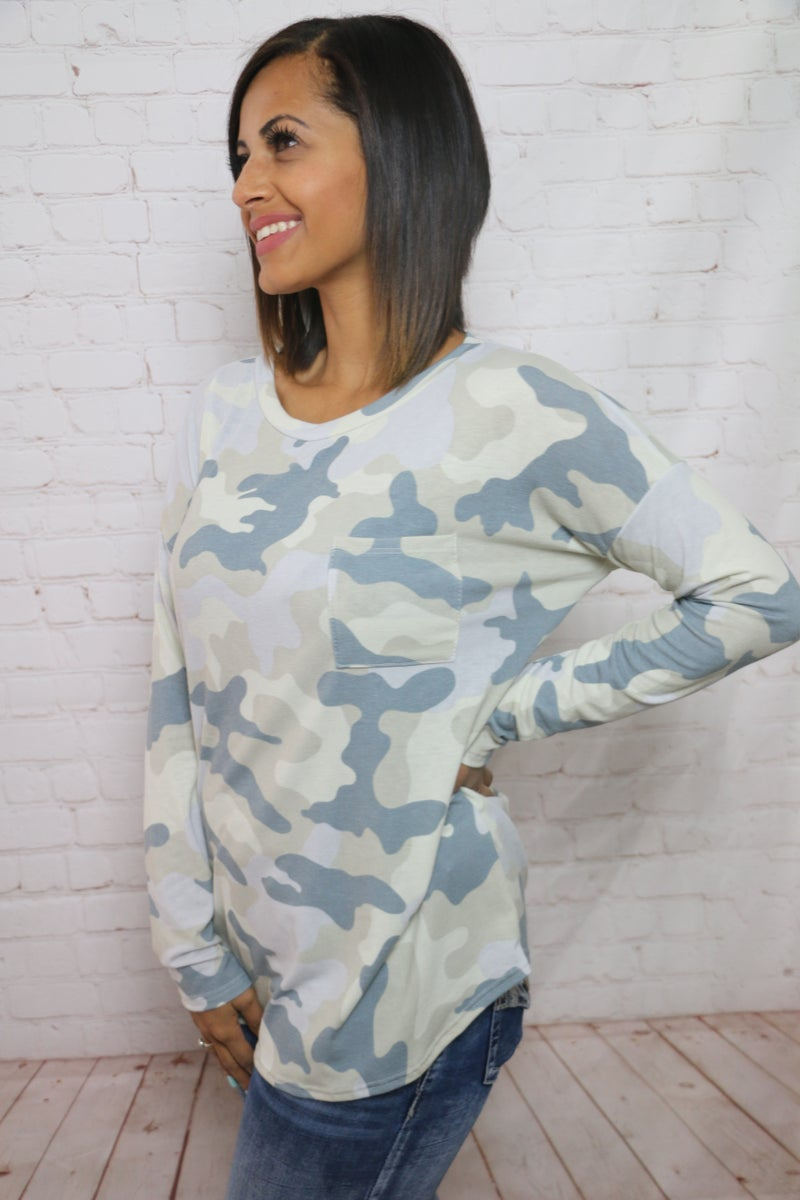 Searching for You Muted Camo Long Sleeve Top with Accent Pocket - Sizes 4-12