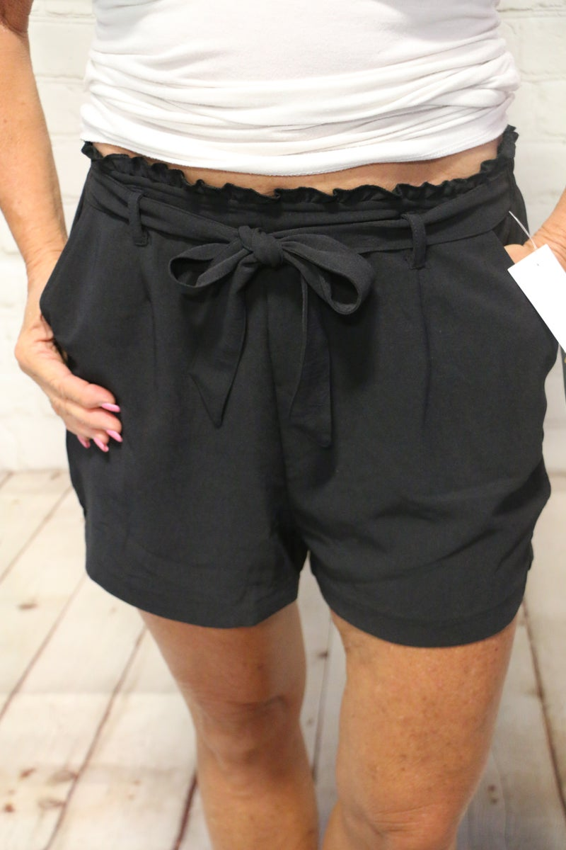 Looking Cute Paper Bag Shorts with Attached Tie Belt in Multiple Colors-Sizes 4-20
