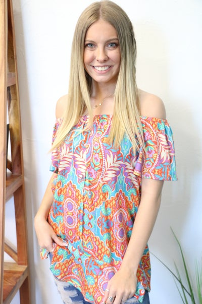 Lost in Your Eyes Paisley Short Sleeve Top with Ruffled Hem - Sizes 4-20