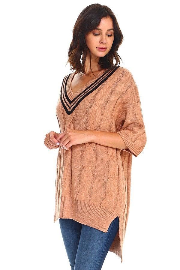 His Sweetheart Boyfriend Khaki V-Neck Cable Knit Sweater - Sizes 4-10