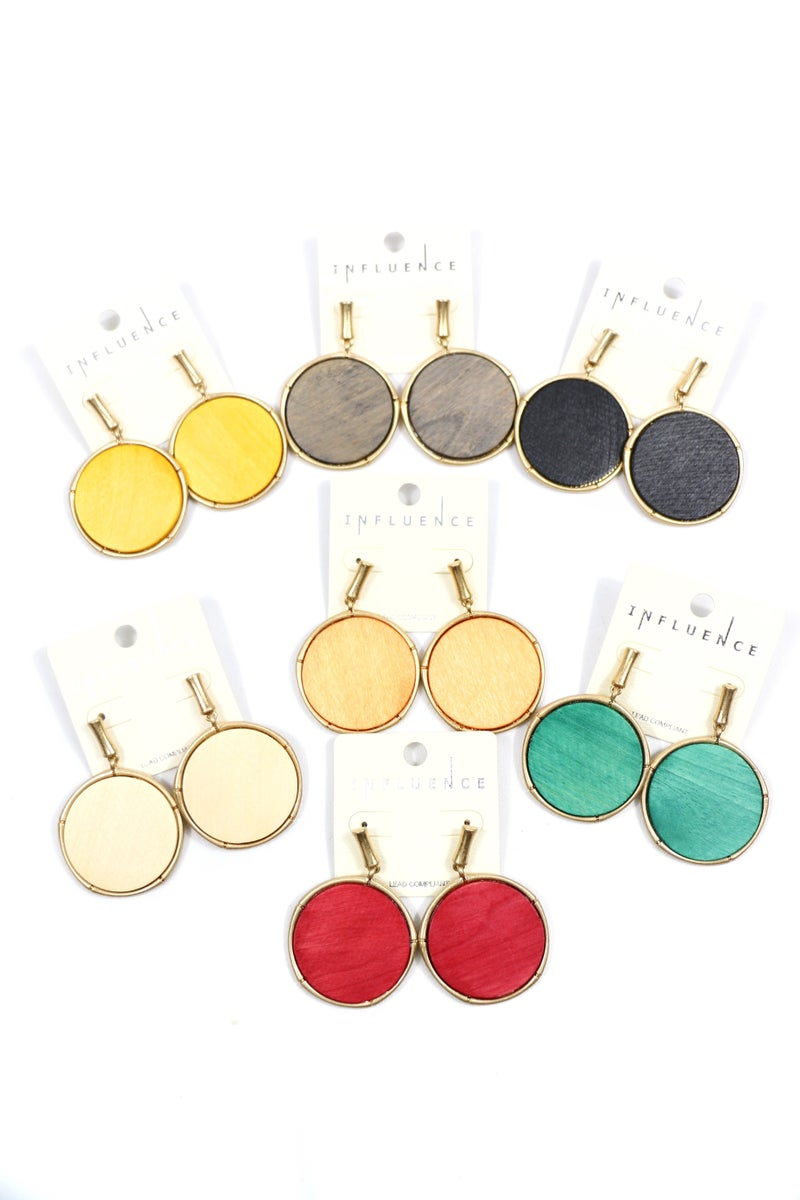 Going Home Round Wooden Disc Earring In Multiple Colors