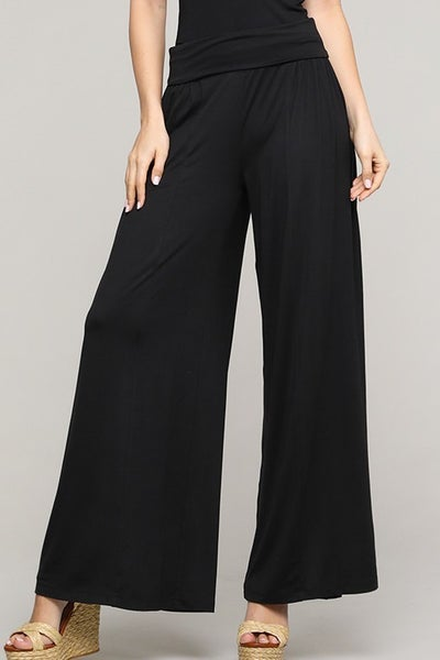 Black Wide Leg Palazzo Pants - Sizes 4-12