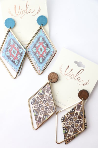 Double Diamond Wood And Metal Earring In Multiple Colors