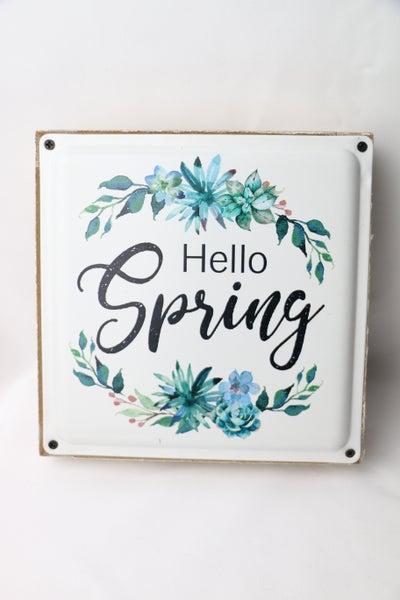 Hello Spring Enamel Plaque Wood Frame