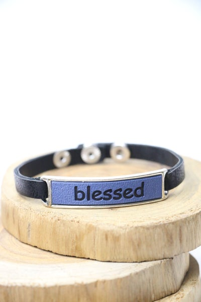 BLESSED Black Leather Snap Bracelet With Blue Leather Blessed Bar