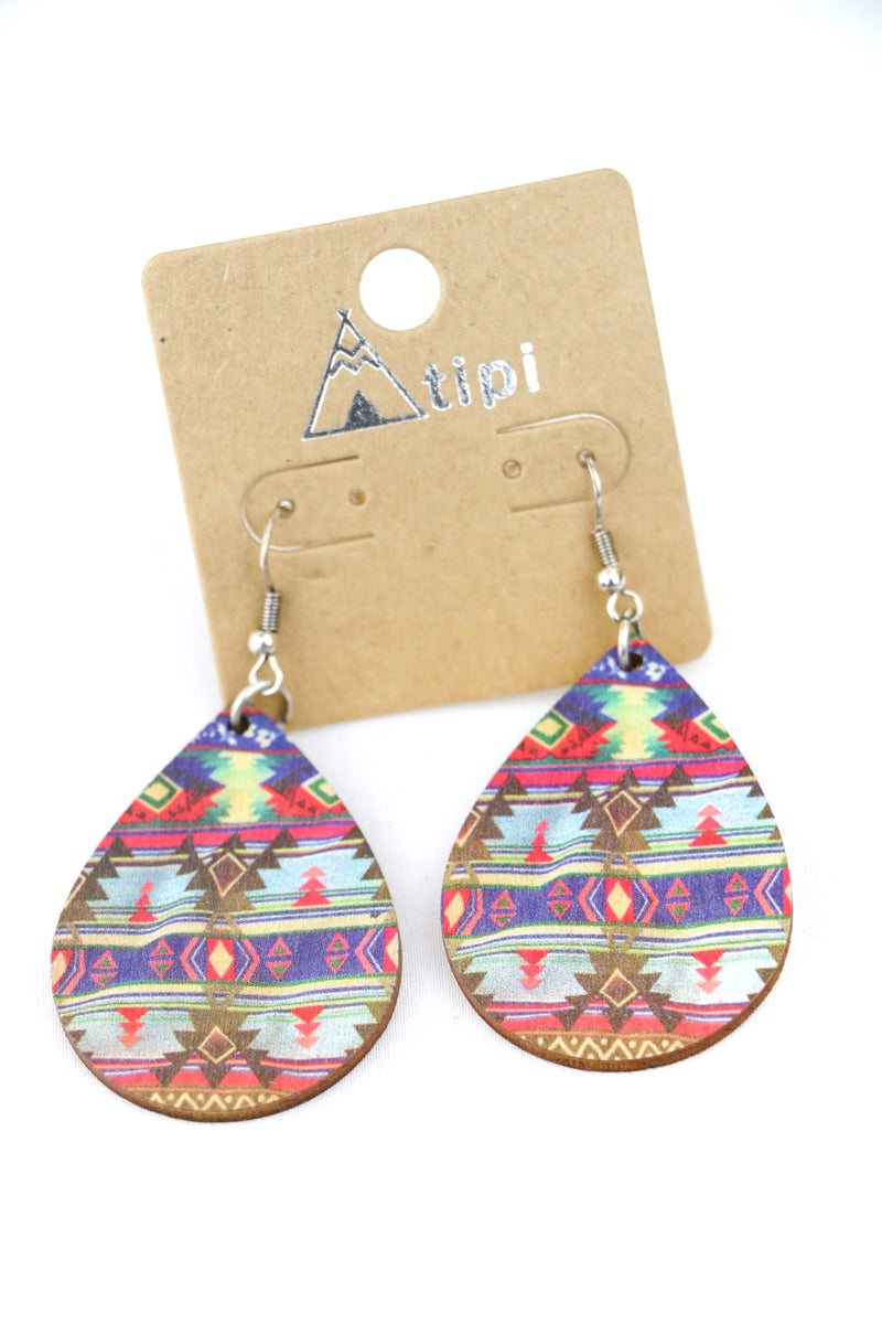 Mesa Dreams Wooden Teardrop Aztec Earring