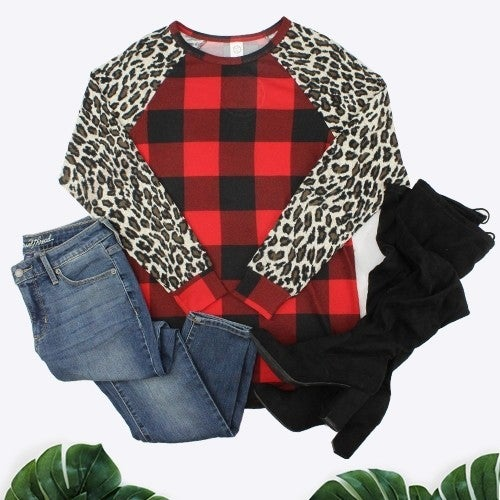 Worth Your Time Red Plaid & Leopard Top - Sizes 4-20