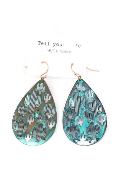 Out There Metal Patina Teardrop Earring With Cactus Cutouts