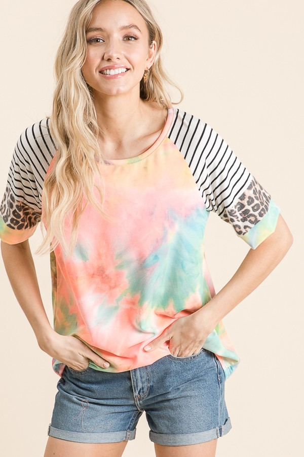 You Make Me Smile Tie Dye Top with Striped and Leopard Accent Sleeve - Sizes 4- 12