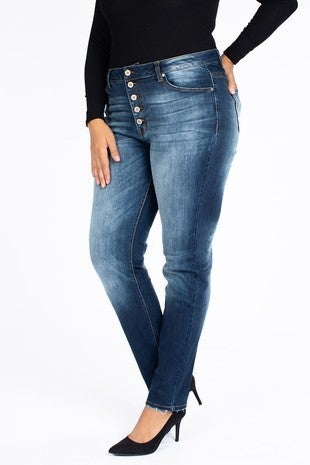The Emberlyn Dark Denim Kan Can Five Button Skinny Jean - Sizes 12-20