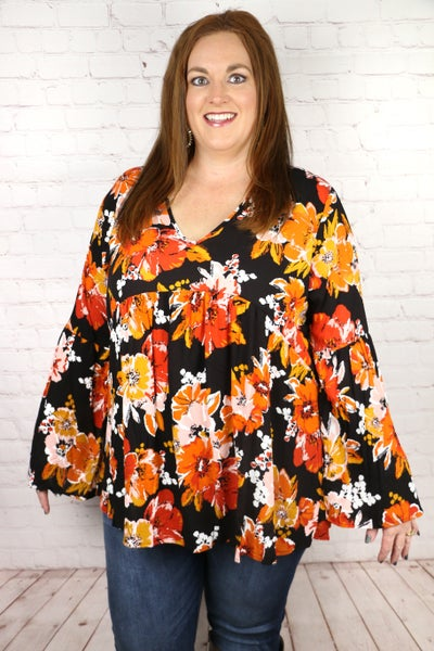 Couldn't Be Sweeter Floral Babydoll Top in Black - Sizes 4-20