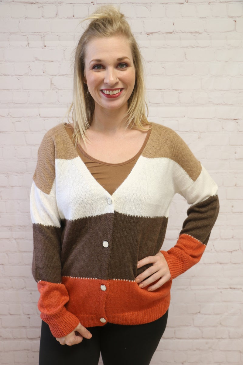 Autumn is Calling Mocha and Pumpkin Colorblock Button Down Sweater - Sizes 4-18