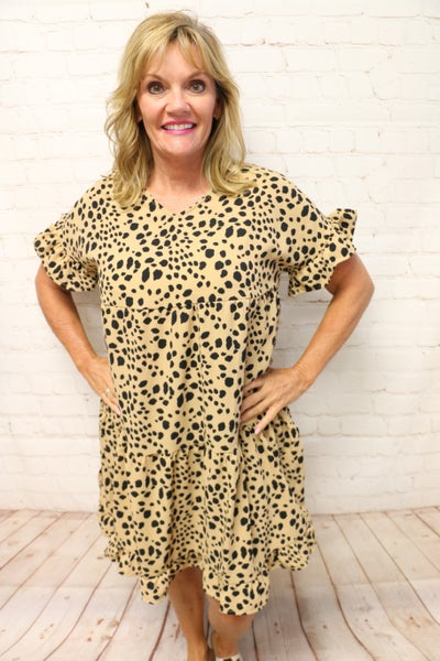 Roaring Beauty Short Sleeve Tiered Cheetah Dress - Sizes 4-12